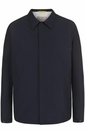 Куртка на кнопках с отложным воротником Canali. Цвет: темно-синий