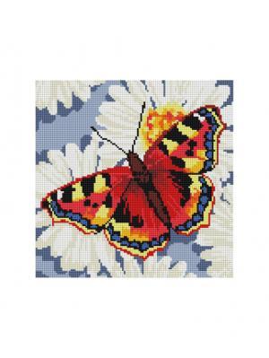 Мозаика на подрамнике. Бабочка ромашках (087-ST-S) Белоснежка. Цвет: белый