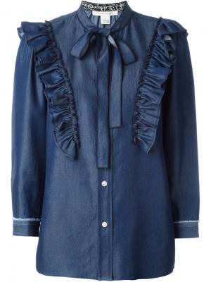 Джинсовая блузка с оборками Marc Jacobs. Цвет: синий