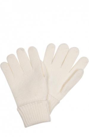 Вязаные перчатки из шерсти Il Trenino. Цвет: белый
