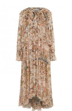Платье-миди свободного кроя с оборками и принтом Zimmermann. Цвет: разноцветный