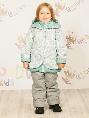 Комплект (куртка, ПК) демисезонный для девочки Злата GooDvinKids. Цвет: бирюзовый, серый