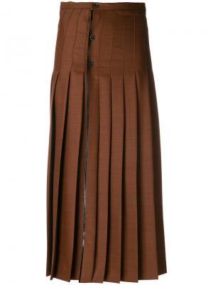 Плиссированная юбка с высокой талией Marco De Vincenzo. Цвет: коричневый