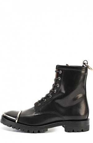 Кожаные ботинки с металлической вставкой на мысе Alexander Wang. Цвет: черный