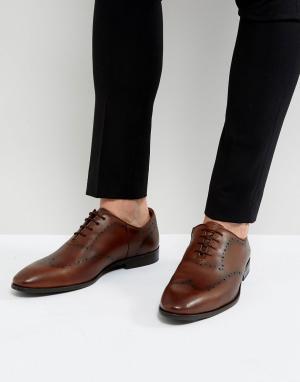 New Look Коричневые кожаные броги. Цвет: коричневый