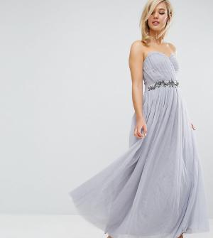 Little Mistress Платье-бандо макси с отделкой и юбкой из тюля. Цвет: серый