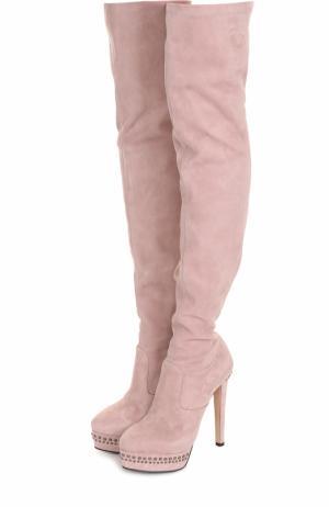 Замшевые ботфорты на шпильке и платформе Le Silla. Цвет: розовый