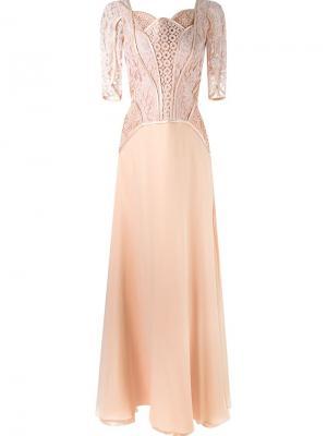 Вечернее платье с кружевным верхом Martha Medeiros. Цвет: розовый и фиолетовый