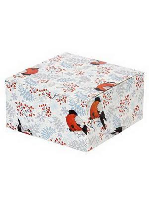Зимнее настроение Коробка подарочная складная, бумага, 16х16х8,5см,  6 штук СНОУБУМ. Цвет: белый