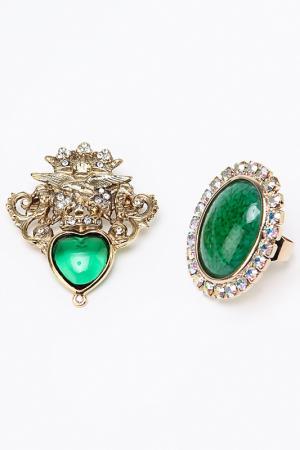 Набор: брошь, кольцо I Pavoni. Цвет: золото, камни зеленые, белые