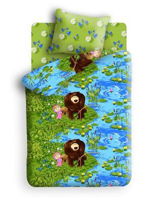 Комплект постельного белья Маша и медведь. Цвет: синий, зеленый, голубой