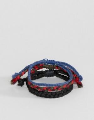 ASOS Набор плетеных браслетов (синий / красный). Цвет: мульти
