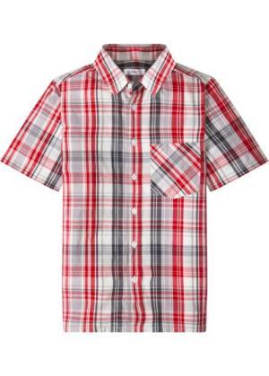 Рубашка с коротким рукавом и принтом (серый/темно-красный в клетку) bonprix. Цвет: серый/темно-красный в клетку