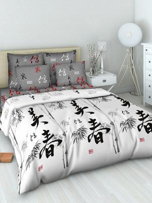 Комплект постельного белья Василиса. Цвет: белый, черный