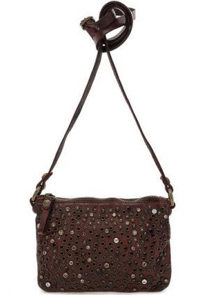 Маленькая кожаная сумка с отделкой камнями Campomaggi. Цвет: бордовый