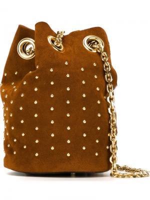 Fringed studded bucket shoulder bag Delphine Delafon. Цвет: коричневый