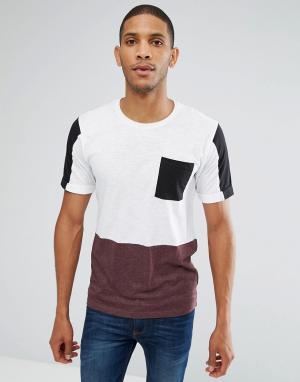 Troy Футболка со вставкой и карманом. Цвет: белый