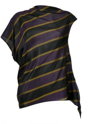 Асимметричная блузка в полоску 08Sircus. Цвет: розовый и фиолетовый