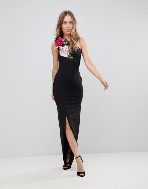 Jessica Wright Платье макси на одно плечо с цветочным принтом. Цвет: черный