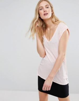 Pam & Gela Обтягивающая футболка с V-образным вырезом. Цвет: розовый