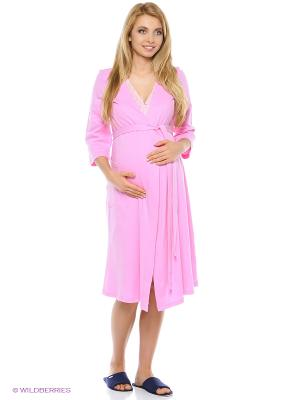 Домашний комплект для беременных и кормящих (халат+сорочка) Hunny Mammy. Цвет: розовый