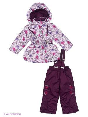 Комплект для девочки демисезонный /куртка, полукомбинезон/ Rusland. Цвет: фиолетовый, белый