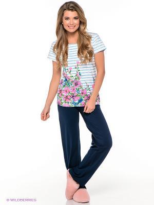 Пижама PELICAN. Цвет: темно-синий, белый, бирюзовый