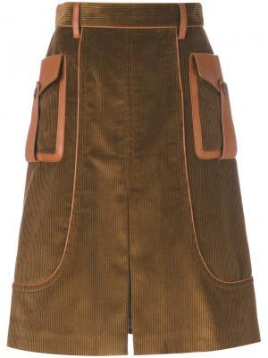 Юбка из вельвета Prada. Цвет: коричневый