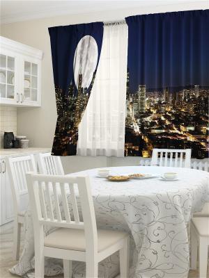 Комплект фотоштор для кухни Лунный свет ZLATA KORUNKA. Цвет: кремовый