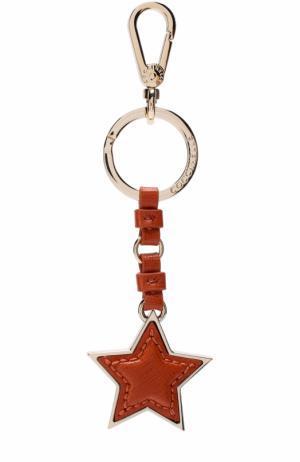 Кожаный брелок для ключей Coccinelle. Цвет: оранжевый