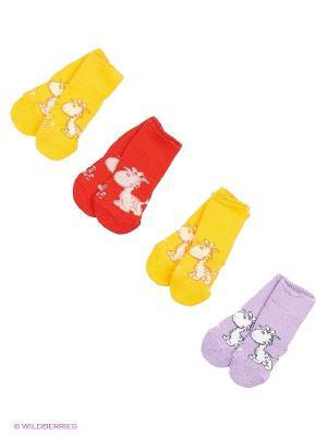 Носки, 4 пары Гамма. Цвет: красный, желтый