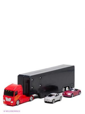 Машинка с грузовиком AUTOTIME. Цвет: желтый, красный, оранжевый