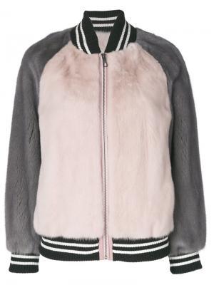 Норковая шуба-бомбер дизайна колор-блок Liska. Цвет: розовый и фиолетовый