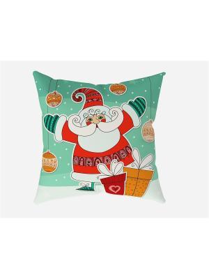 Наволочка Веселый Санта Сирень. Цвет: бирюзовый, красный, светло-оранжевый