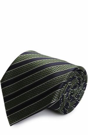 Шелковый галстук в полоску Ermenegildo Zegna. Цвет: зеленый