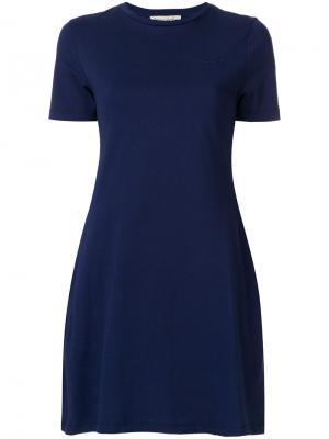 Платье-футболка с контрастной полосой Être Cécile. Цвет: синий