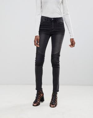 Vila Зауженные байкерские джинсы. Цвет: серый