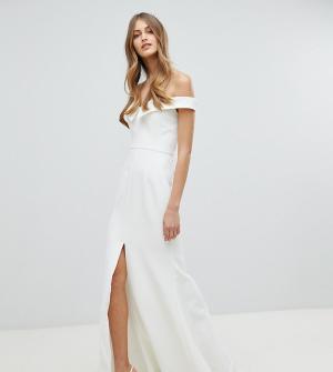 Jarlo Платье макси с широким вырезом и разрезом до бедра. Цвет: белый