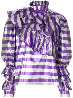 Блузка в полоску с оборками Alessandra Rich. Цвет: розовый и фиолетовый