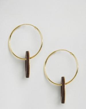 Wolf & Moon Cеребряные серьги-кольца с подвесками в виде дисков and. Цвет: золотой