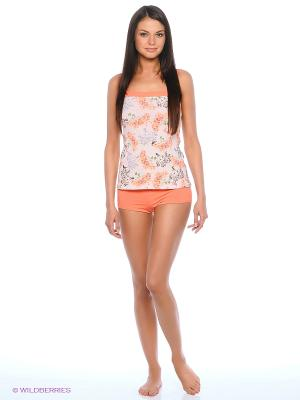 Пижама Lui et Elle. Цвет: коралловый, белый