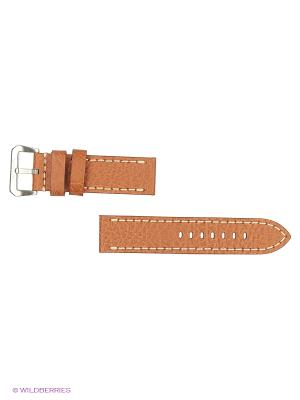 Ремень д/часов, кожа БУЙВОЛА K/N, прямой, коньячный, 24 х мм. J.A. Willson. Цвет: коричневый