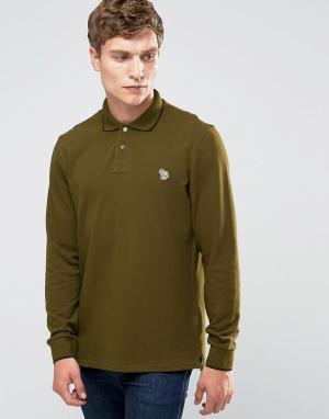 PS by Paul Smith Футболка-поло слим с длинными рукавами и логотипом. Цвет: зеленый