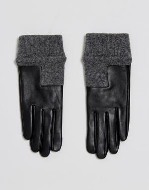 ASOS Кожаные перчатки с асимметричными манжетами в рубчик. Цвет: черный