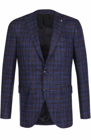 Однобортный пиджак из смеси шерсти и шелка Sartoria Latorre. Цвет: темно-синий