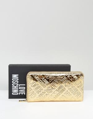Love Moschino Золотистый кошелек с логотипом. Цвет: золотой
