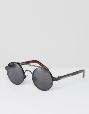 Spitfire Круглые солнцезащитные очки черного цвета. Цвет: черный