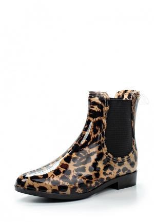 Резиновые полусапоги Ideal Shoes. Цвет: коричневый