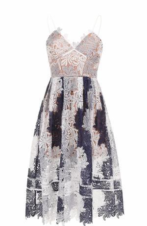 Кружевное платье-миди на тонких бретельках self-portrait. Цвет: разноцветный