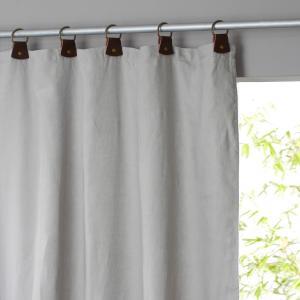 Занавеска из осветленного льна с кожаными шлевками, Private AM.PM.. Цвет: серый жемчужный